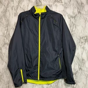 Danskin Now Gray & Neon yellow windbreaker jacket